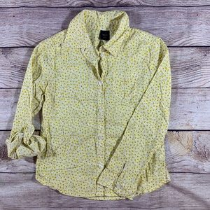 Gap yellow flower blouse top size small (6/7)